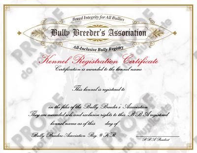 kennel registration certificate