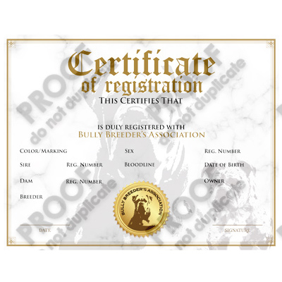 single dog registration certificate
